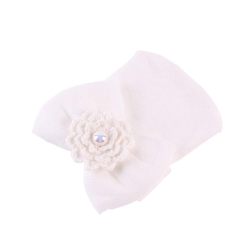 SunnyClover Newborn Knitted Bow Hats Baby Girl Hair Band Flowers Beanies Knit Hat Cap Toddler Headband 4 Pieces