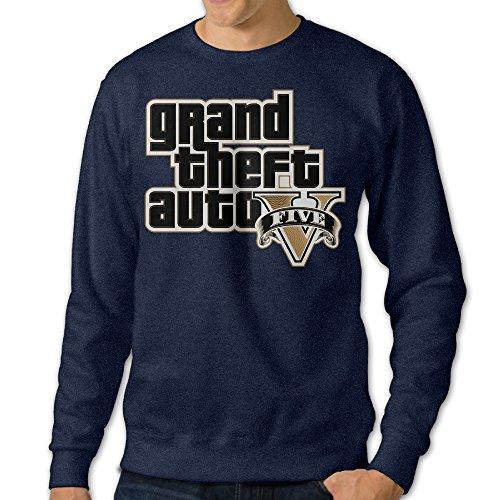 [JXMD Men's Grand Theft Auto V Crewneck Sweatshirt Navy Size XXL] (Danica Patrick Costumes)