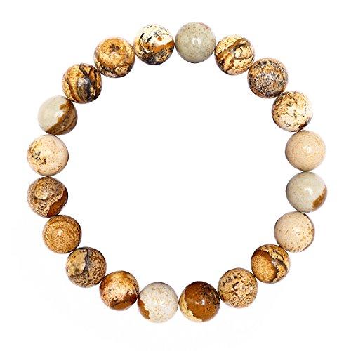 BRCbeads Gemstone Bracelets Picture Jasper Natural Genuine Gemstones Birthstone Handmade Healing Power Crystal Beads Elastic Stretch 10mm 7.5 Inch with Gift Box Unisex