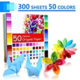 Origami Paper, 300 Sheet 50 Assorted Color Single Sided Origami Paper Set for Kids and Adults Craft Projects, 6x6 Inch Per Craft Paper