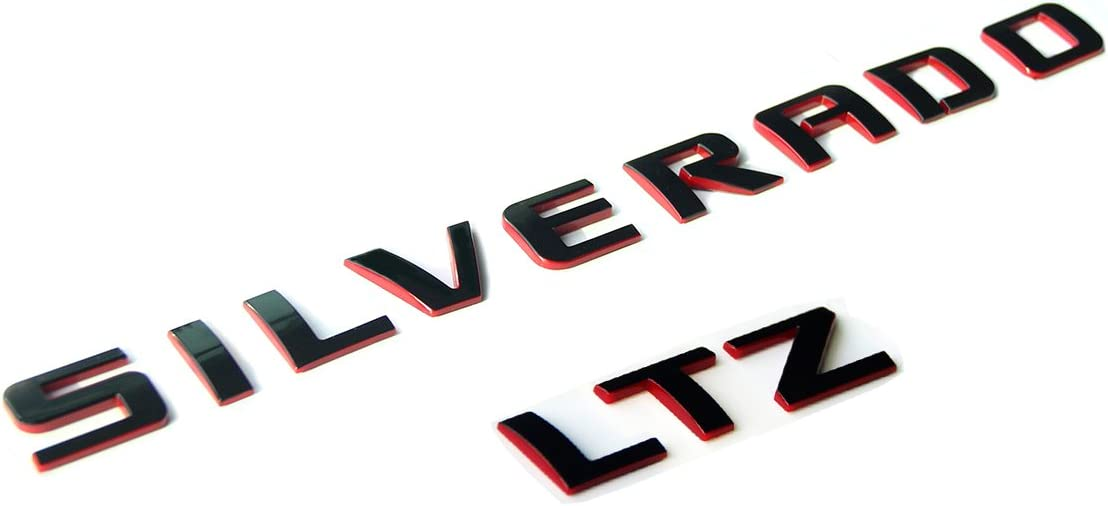 Yoaoo OEM Silverado LTZ Nameplate Letter Emblem 3D Badge 1500 2500HD 3500HD Original Silverado Series LTZ Set Red Line