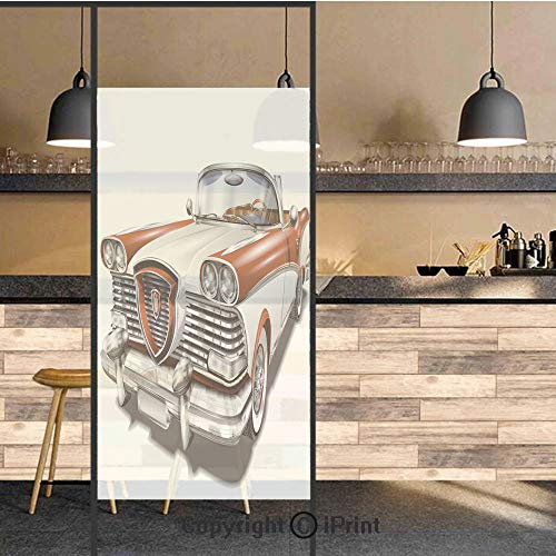 3D Decorative Privacy Window Films,Retro Car in Red and White Exclusive Model Machine Drophead Coupe Decorative,No-Glue Self Static Cling Glass film for Home Bedroom Bathroom Kitchen Office 24x71 Inch