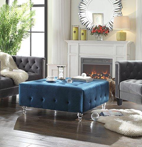 Iconic Home FON2603-AN Blue Samson Velvet Modern Contemporary Button Tufted Clear Acrylic Legs Ottoman ()