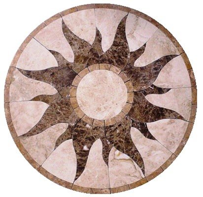 Marble Mosaic Floor Tile Medallion Sun Design 30\