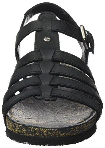 Mujer con Jack Basics Cuña para Negro Sandalias Black Panama Duna nx601BB