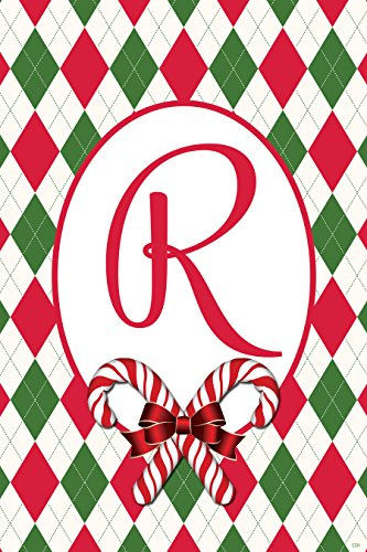 Argyle Christmas R - Garden Size, 12 Inch X 18 Inch, Decorative Double Sided Licensed and Copyrighted Flag by Custom Decor Inc. Embroidered Monogram Style