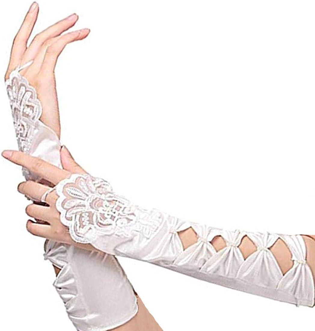 Long Satin Gloves Kids Girls  Satin Bow Sleeves Gloves Party Wedding Performance