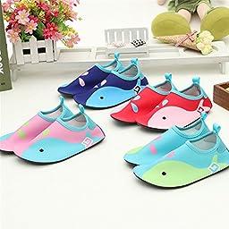 L-RUN Kid\'s Quick-Dry Barefoot Water Skin Shoes Aqua Socks for Surf Pool Yoga Beach Swim Exercise Pink 6-7=EU 22-23
