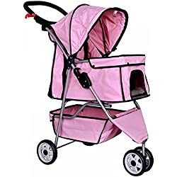 3 Wheels Pet Stroller Dog Travel Folding Carrier Rear Ventilation Easy Fold Pink