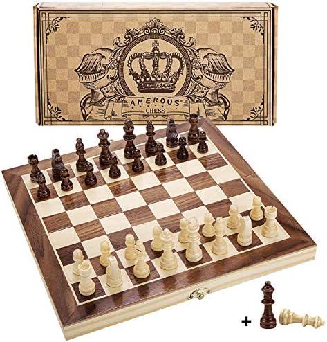 [해외]자수정 12- x 12- 자석 나무 체스 세트 성인과 어린이를 위한 자석 나무 체스 세트 2 개 추가 퀸 2 개 보관 슬롯이 있는 접이식 보드 수제 체스 피스 휴대용 여행 체스 보드 게임 세트 선물 포장 박스 / Amerous 12 x 12 Magnetic Wooden Chess Set ...