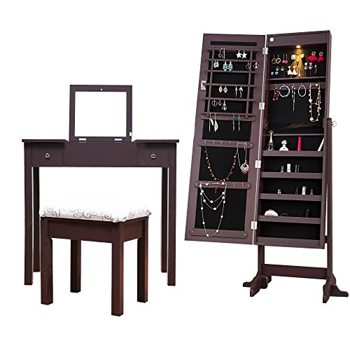 Armoire Mdf Set (Cloud Mountain Jewelry Cabinet Makeup Dressing Vanity Table Stool Set Jewelry Armoire Free Standing with LED Light, Espresso)