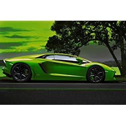 Poster of Green Aventador HD 36 X 24 Inch Print