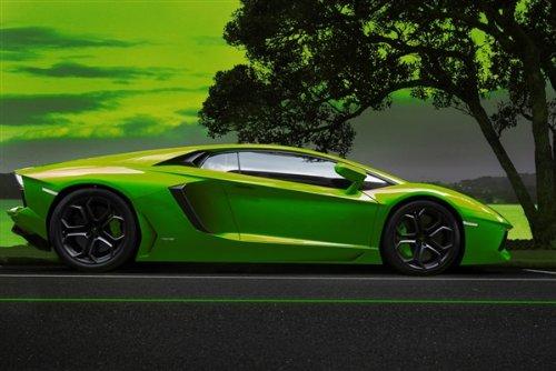 Poster of Green Aventador Hd Print