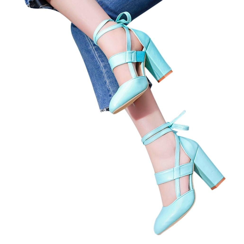 LtrottedJ Women's Fashion Heeled Sandals Ankle Strap Dress Sandals for Party Wedding (37, Blue) by LtrottedJ (Image #2)