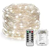 Cool White Fairy String Lights, 50 LED Copper Wire Battery Operated Waterproof String Lighting with Remote Control for Outdoor, Home, Lawn, Garden, Patio, Party and Holiday