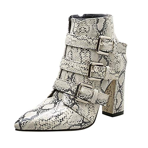 Hot Sale Shoes ! Pocciol Women Buckle Shoes Boots Snakeskin Pattern Thick Pointed Toe Zip Belt Booties (White, US:8) (Bohemian Revolution)
