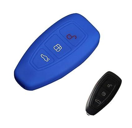 Happyit Silicona Control Remoto llave Cubierta Caso Llavero para Ford Focus MK3 MK4 escape Kuga ecosport Nuevo Fiesta (Marino azul)