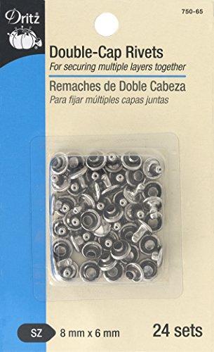 Dritz 750-65 Double-Cap Rivets, Nickel, 8mm x 6mm 24-Sets