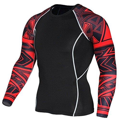 Compression 웨어 맨즈 긴 소매 스포츠 셔츠 가압 셔츠 트레이닝 이너 냉감흡한 속건 오름 탄력 가압 S~3XL