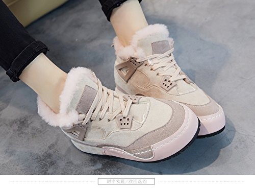 Cotton Cashmere Thirty Cashmere Pink Shoes Shoes Increased Tie Plate GUNAINDMXThe Shoes Six Padded Warm Leisure Shoes Leather 01ZxS