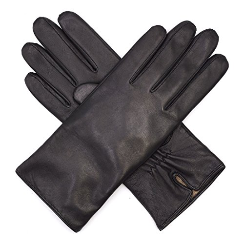 Harssidanzar Womens Luxury Italian Nappa Leather Gloves Vintage Finished Cashmere Lined, Black, M
