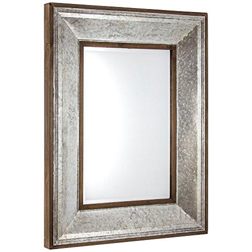American Art Decor Galvanized Metal & Rustic Wood Framed Beveled Wall Vanity Farmhouse Accent Mirror (39