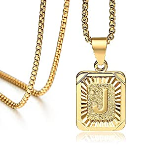 Best Epic Trends 51crggEfqqL._SS300_ Hermah 26 Gold Plated Square Capital Initial Letter Charm Pendant Necklace for Men Women Box Steel Chain 22inch