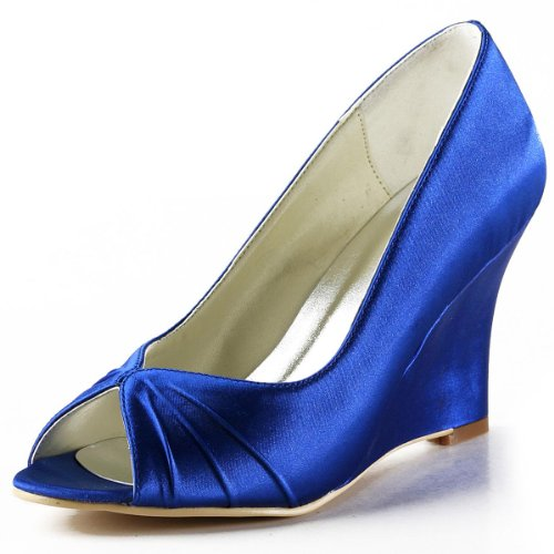 ElegantPark EP2009 Women High Heel Pumps Peep Toe Pleated Satin Prom Evening Wedding Wedges Royal Blue US 9