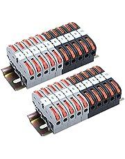 DIN Rail Terminal Blocks Kit - 20PCS Terminal Blocks, 2PCS Connection Bar, 2PCS Digital Identification, 2 PCS DIN Rail Slotted, 20PCS Screws for 28-12 AWG