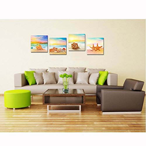 "Sea Charm - Seaview Modern Seascape Giclee Canvas Prints Artwork Seashell on Beach Landscape Pictures to Photo Paintings on Canvas Wall Art for Home Decorations Wall Decor 4pcs/set (16""x16""x4pcs)"