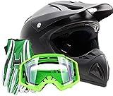 Adult Offroad Helmet Goggles Gloves Gear Combo Matte Black Green (2X)