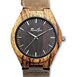 RUSTYGEAR Mens Wooden Zebrawood Watch with Genuine Brown Leather Strap Quartz Analog with Quality Miyota Movement,Gift Boxed