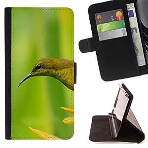 For HTC Desire 820 Case , Pájaro verde de la flor de primavera- la tarjeta de Crédito Slots PU Funda de cuero Monedero caso cubierta de piel