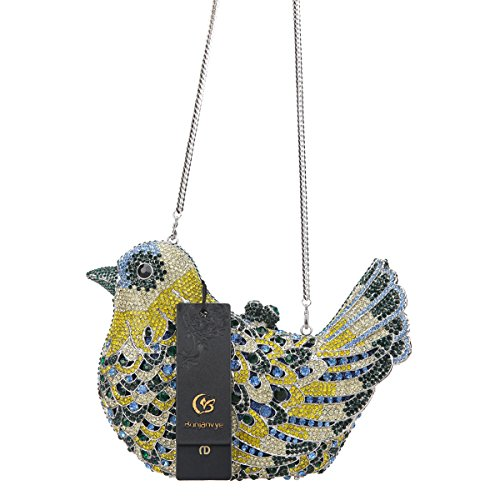 Blue Dark Girls Evening Bird Rhinestone Bonjanvye Clutch For Green Glitter Purses Bag q8zUAUwvn