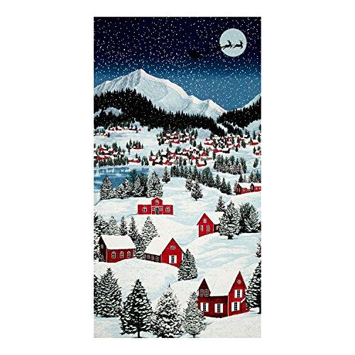 Fabric Christmas Merry (RJR Fashion Fabrics Merry Berry & Bright Metallic Night Before Christmas 24in Panel December Fabric)