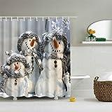Snowman Shower Curtain Timberlark Merry Christmas Snowman Shower Curtain with Hooks, Waterproof Polyester Bathroom Shower Curtain 70x70 Inch