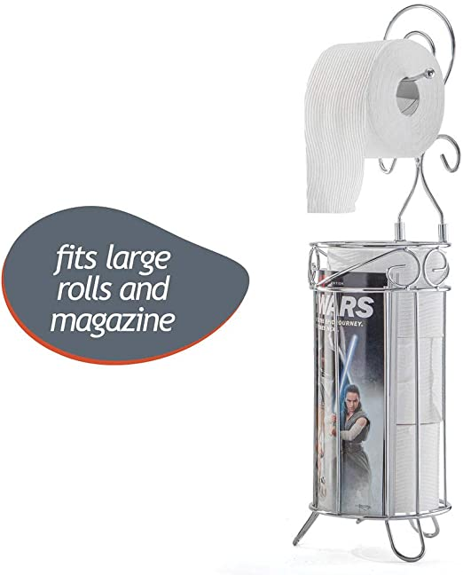 Toilet Paper Roll Holder Organiser With Storage Metal Iron Standing For 1 Roll