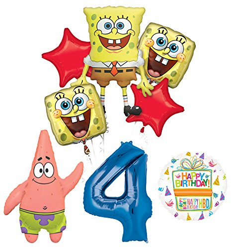 Spongebob Squarepants 4th Birthday Party Supplies and Balloon Bouquet Decorations]()