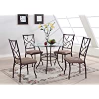 Kings Brand 5 Pc. Set Brand Round Glass & Metal Dining Room Kitchen Table And 4 Chairs
