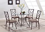 King's Brand 5 Pc. Set Round Glass and Metal Dining Room Kitchen Table and 4 Chairs