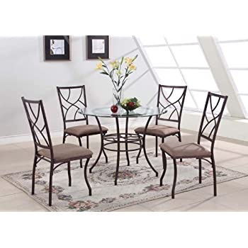 Amazon.com - Mainstays 5-piece Glass Top Metal Dining Set - Table ...