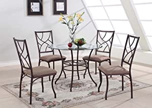 King s Brand 5 Pc  Set Brand Round Glass   Metal Dining Room Kitchen Table  And 4 ChairsAmazon com   King s Brand 5 Pc  Set Brand Round Glass   Metal  . Dining Room Table Brands. Home Design Ideas