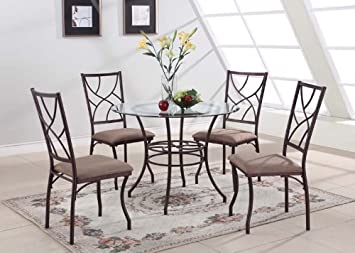Kingu0027s Brand 5 Pc. Set Brand Round Glass U0026 Metal Dining Room Kitchen Table  And