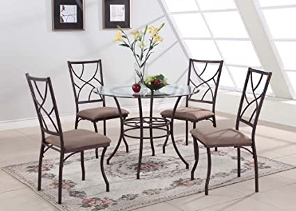 King\'s Brand 5 Pc. Set Brand Round Glass & Metal Dining Room Kitchen Table  and 4 Chairs