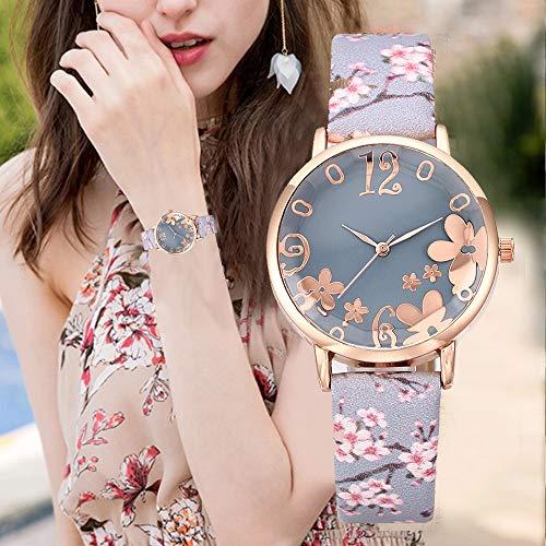 Meiliwanju Women's Quartz Watch, Fashion Flower Embossed Pattern Wrist Watches Elegant Gift for Women Ladies (Light Blue)