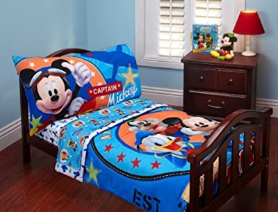 Disney Mickey Mouse 4pc Toddler Microfiber Bedding Set Clubhouse Capitain Mickey Reversible by Crown Craft