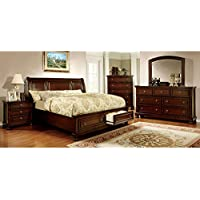247SHOPATHOME Idf-7683EK-6PC Bedroom-Furniture-Sets, King, Cherry