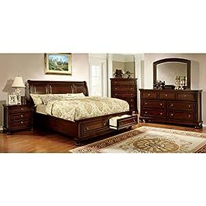Northville II Traditional Elegant Style Cherry Finish Eastern King Size 6-Piece Bedroom Set