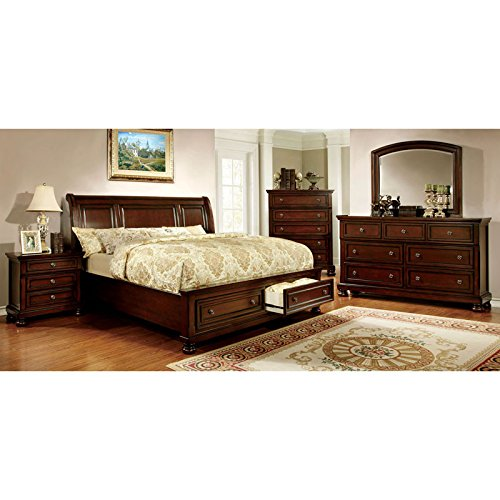247SHOPATHOME IDF-7683CK-6PC Bedroom-Furniture-Sets, California King, Cherry (Panel Bedroom King Set Cal)