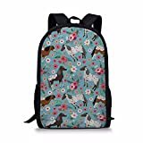 Dellukee Girl School Bag Floral Horse Print Cute Stylish Youth Daypack Backpack